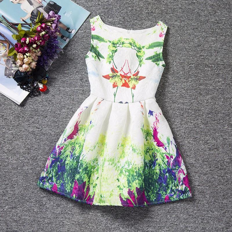 robe enfant fleurs tropicales