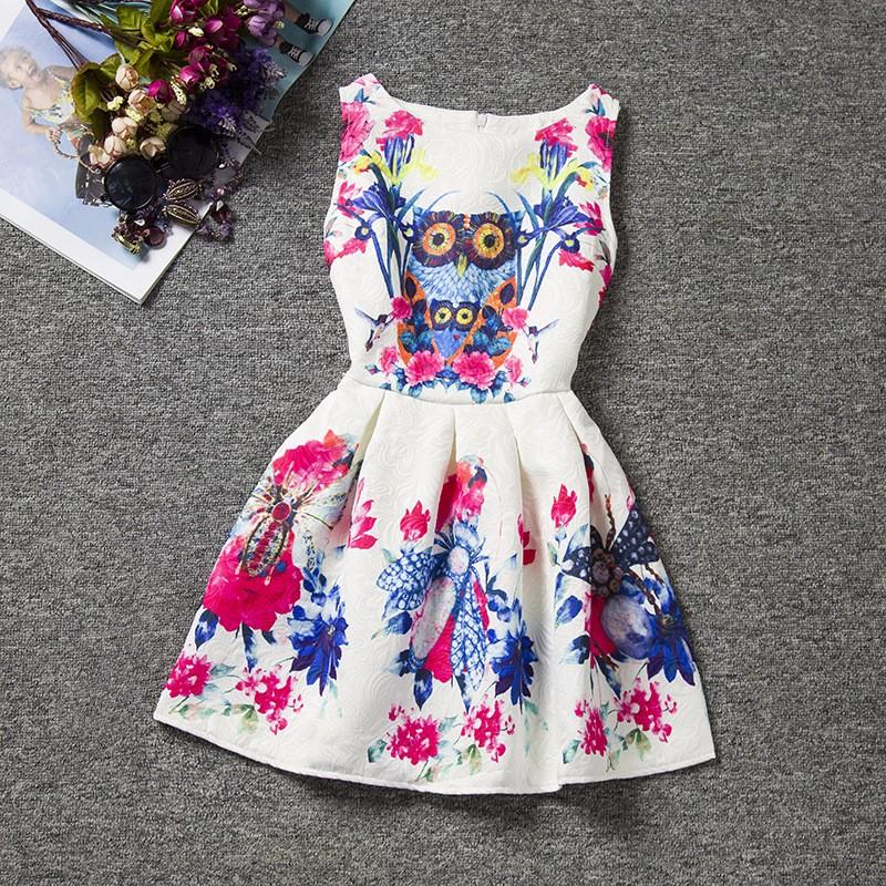 robe motif hibou et fleurs
