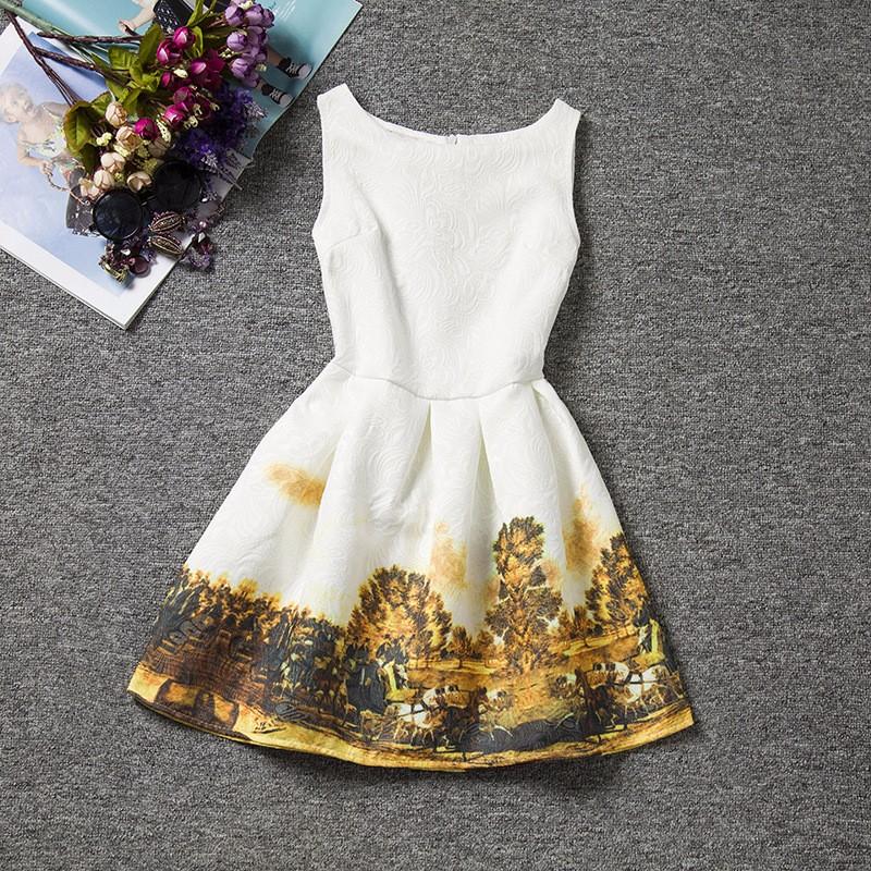 robe motif paysage d'antan